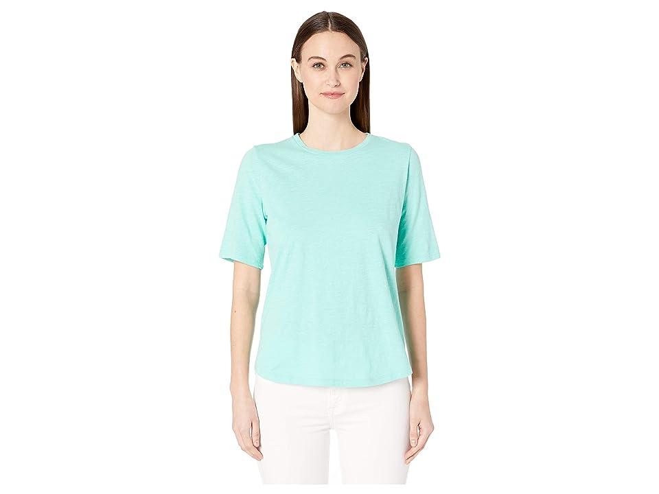 Eileen Fisher Organic Cotton Slub Round Neck Elbow Sleeve Top (Shining Water) Women