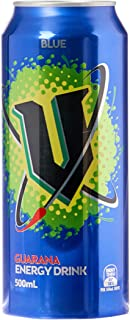 V Energy Blue Guarana Energy Drink Can, 12 x 500 Milliliters