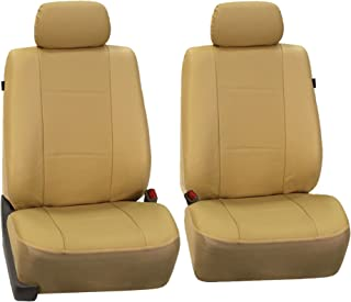 FH Group FH-PU007102 Deluxe Leatherette Front Set Seat Covers, Airbag Compatible, Black Color- Fit Most Car, Truck, SUV, or Van