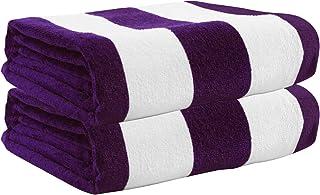 "Exclusivo Mezcla 2 Pack 100% Cotton Oversized Large Beach Towel,Pool Towel (Cabana Stripe,Purple 35""x70"")—Soft, Quick Dry,..."