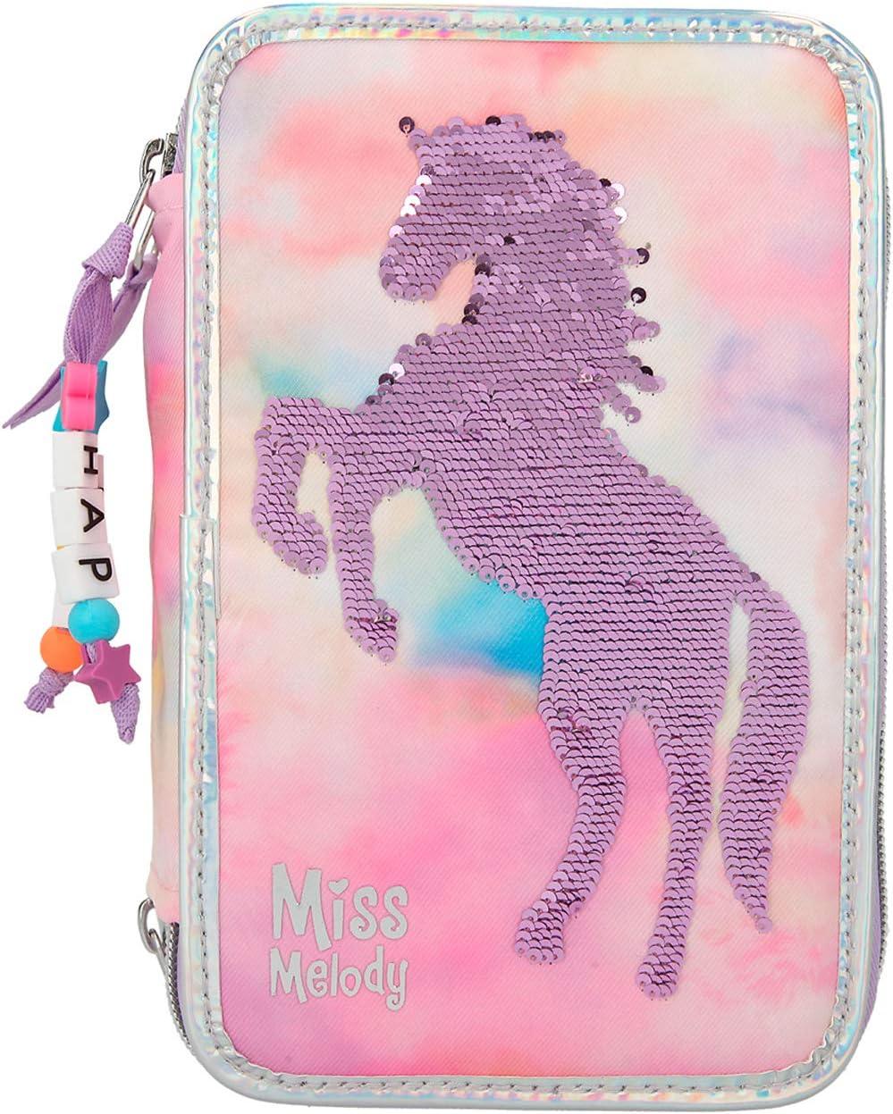 Depesche-DP-0011074 Estuche con 3 Cremalleras y lápices de Lyra, Miss Melody Batik, Rosa, Aprox. 7 x 13 x 20,5 cm Color (11074)