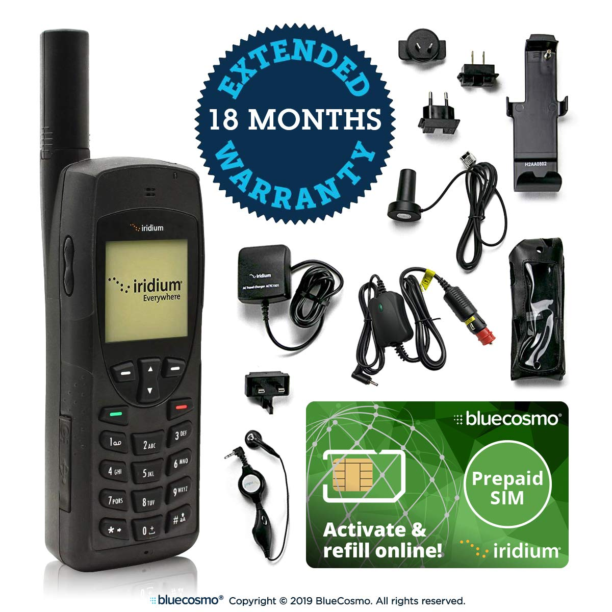 BlueCosmo Iridium Satellite Phone Bundle