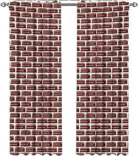 shenglv London, Blackout Curtains Kids, Retro Cartoon Style Double Decker Bus Pattern UK England Travel Transportation, Curtains Nursery, W96 x L96 Inch, Red Grey Cream