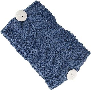 Beautiful crown Donne Colore solido Crochet Turban Fascia con bottoni Protezione dell'orecchio Elastico Ampia Hairband Chu...