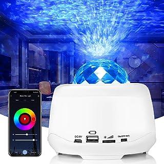 Projecteur LED ciel étoilé - Veilleuse pour enfant - Lampe avec télécommande, haut-parleur WiFi et étoile étoilée - Effet ...