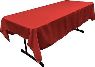 LA Linen Polyester Poplin Rectangular Tablecloth, 60 x 90, Red