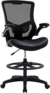Drafting Chair Ergonomic Tall Office Chair with Flip Up Arms Foot Rest Back Support Adjustable Height Mesh Drafting Stool for Standing Desk, Black