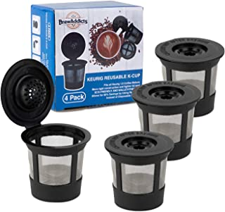 Brew Addicts Reusable K-Cups for Keurig 1.0 Brewers | Eco-Friendly Universal Fit Refillable Single Cup Coffee Filters | Stainless steel Mesh Filter | Black (4 Pack)