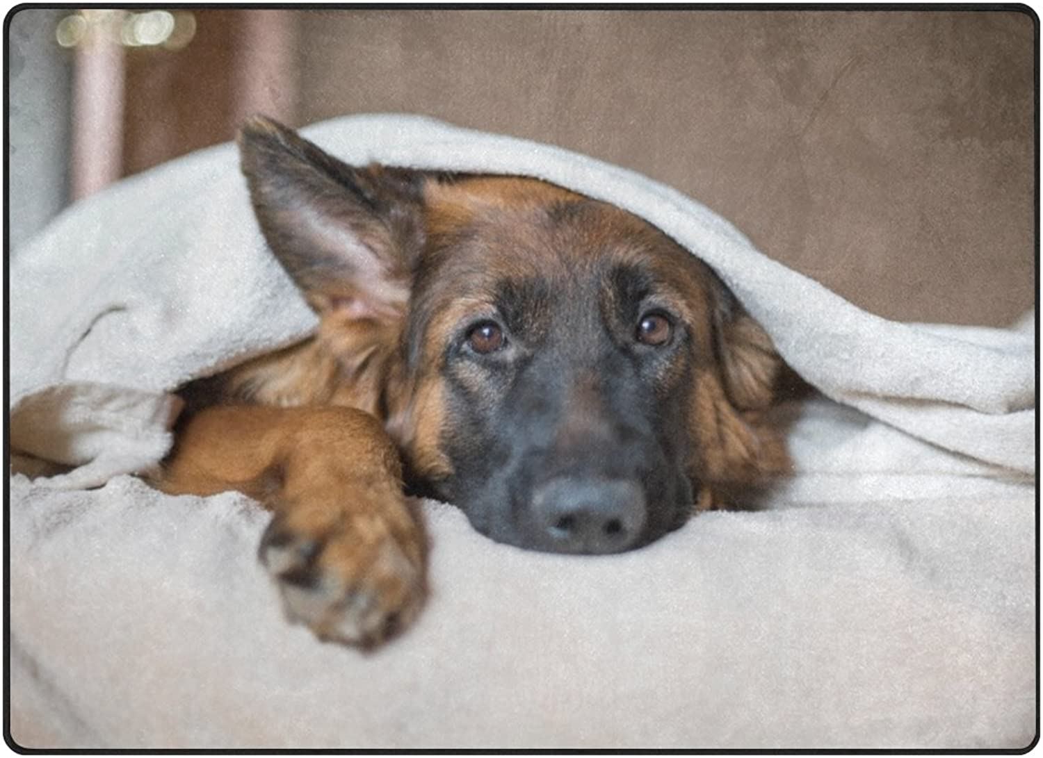 SUABO 80 x 58 inches Area Rug Non-Slip Floor Mat Cute-German-Shepherd-in-A-Blanket-On-Bed-Picture-I Printed Doormats for Living Room Bedroom