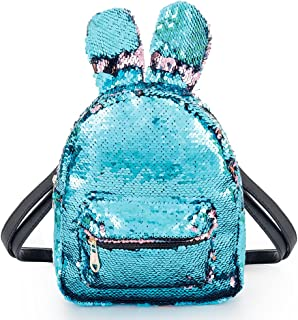 Magic Sequins Backpack with Cute Rabbit Ear Mini Fashion Flip Sequin Schoolbag