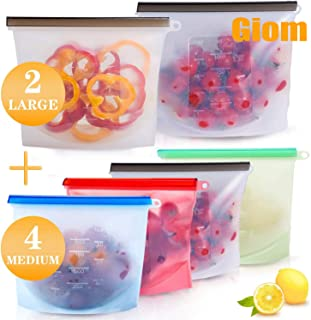 Reusable Silicone Food Storage Bags BPA-FREE Silicone Seal Food Preservation Bags, Airtight Leakproof Washable Freezer Food Bags Silicon Containers for Vegetable, Liquid, Snack, Meat, Sandwich, Fruit