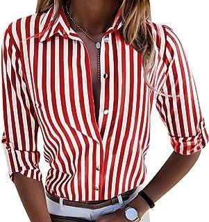 Heiß Herbst Hemd Damen Hevoiok Langarmshirt Mode Lose Taste Gestreift Hemdbluse Oberteile Langarm Bluse T-Shirt Tops