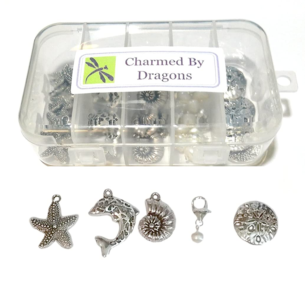 Seaside Beach Charms Mixed 50 Pc Set Antiqued Silver Metal with Crafts Kit Storage Container
