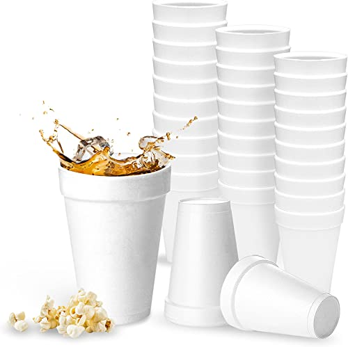 32 Oz Disposable Styrofoam Cups (25 Pack), White Foam Cup Insulates Hot & Cold Beverages, Made in the USA, To-Go Cups - for Coffee, Tea, Hot Cocoa, Soup, Broth, Smoothie, Soda, Juice