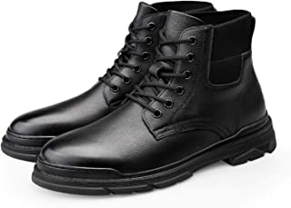 DADIJIER Motocycle Combat Boots for Men Round Toe Elastic Band Mid Top Lace Up Block Heel Plain Pull Tap Genuine Leather R...