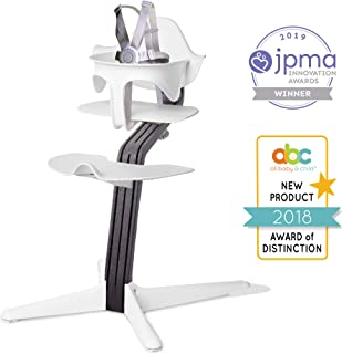 Nomi High Chair, White – Black OakWood, Modern Scandinavian Design with a Strong Wooden Stem, Baby through Teenager and Beyond with Seamless Adjustability, Award Winning Highchair