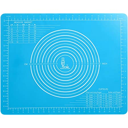 Non-Slip Silicone Pastry Mat with Measurements for Silicon Baking Mats, Non-Stick Dough Rolling Mat, Kneading/Place Mats, Fondant/Sugarcraft/Pie Crust Mat by Super Kitchen (15×20, Blue)