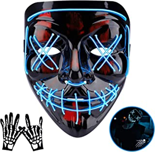 Halloween Mask LED EL Wire Light Up Mask for Festival Cosplay Halloween Costume