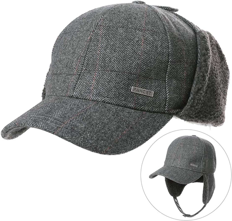 Womens Winter Tweed Wool Earflap Baseball Cap Fleece Hunting Men Hat 5660cm