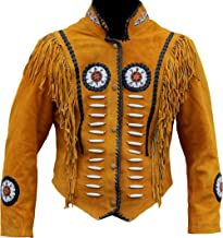Classyak Western Suede Leather Jacket with Beads, Fringes and Bones, Xs-4xl
