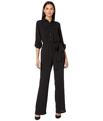 MICHAEL Michael Kors Roll Sleeve Safari Jumpsuit (Black) Women