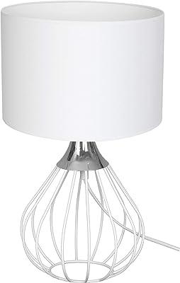 Homemania 8681847096320 Lampe de Table, métal, Textile, Blanc, chromé