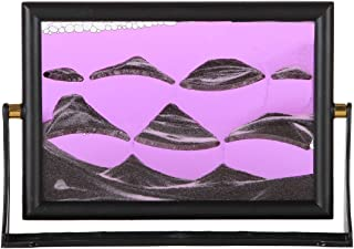 Lily's Home Moving Sand Picture with Spinning Base, Liquid and Sand Filled Art Designed for Display on Desks or Bookshelves, Ideal Gift for Ocean Lovers, Purple Liquid (7