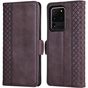 Tianniuke Galaxy S20 Ultra Case, Genuine Leather Flip Case with RFID Blocking and Kickstand Card Holder Wallet Case for Samsung Galaxy S20 Ultra 5G (2020) (Coffee)