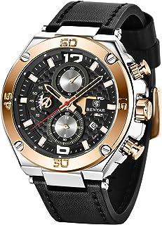 BENYAR - Montre Homme   Montre chronographe   Bracelet en Cuir   Mouvement Quartz   Étanche à 30 m et résistant aux Rayure...