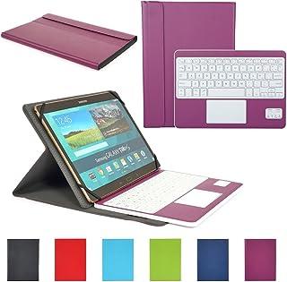 CoastaCloud Funda con Teclado Bluetooth Teclado Bluetooth Inalámbrico 3.0 QWERTY Español con Multi Touchpad - Compatible 9-10.6 Pulgadas Cualquier Windows/Android OS Tablet PC (Violeta)