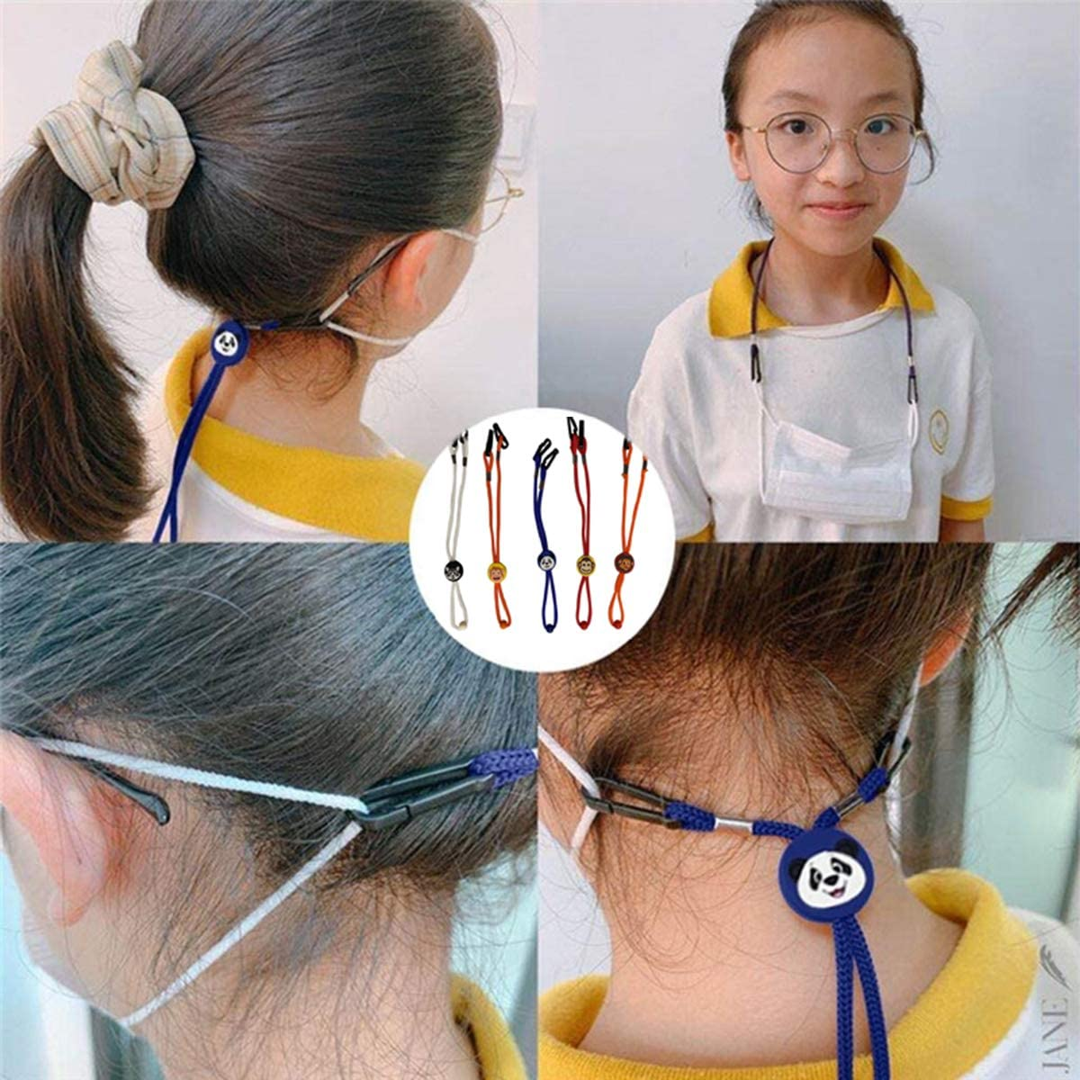 Amstt Mask Lanyard for Adults, Comfortable fits Back of Head or Neck with Clips and Adjustable Stopper