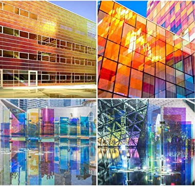 "Sunice 27""x79"" Colorful Window Film Decorative Window Privacy Film Self Adhesive Glass Window Sticker Anti UV Window"