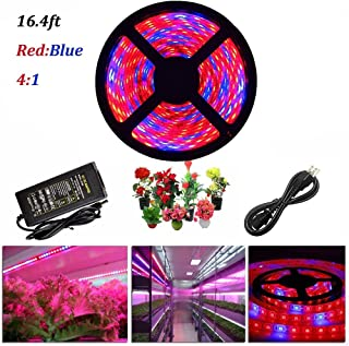 ZCPlus LED Strip Light Plant Grow Lights 16.4ft 5050 SMD Waterproof Full Spectrum Red Blue 4:1 Growing Lamp for Aquarium Greenhouse Hydroponic Plant Garden Flowers (5 M) …