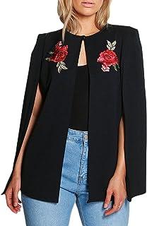 KISSMILK Women Plus Size Casual Front Split Cloak Sleeve Floral Pattern Shawl Coat