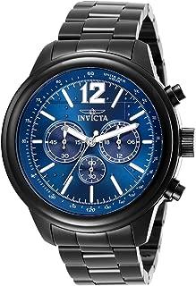 Invicta Men's Aviator Quartz Watch with Stainless Steel Strap, Black, 22 (Model: 28902)