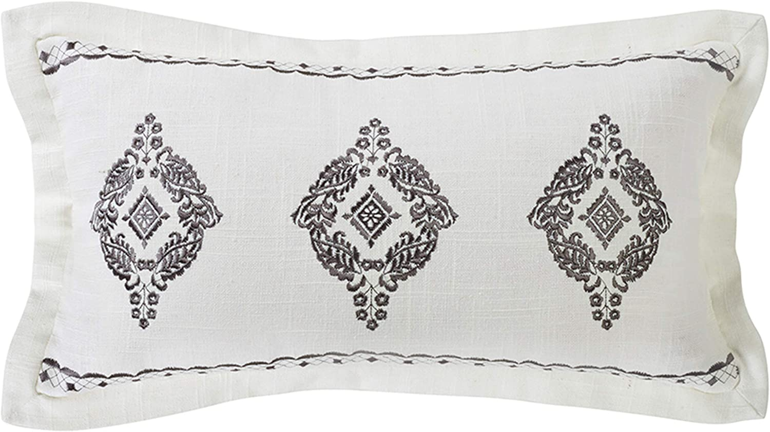 HiEnd Accents Oblong Many popular brands Grey Embroidered Lace Fl Design Detroit Mall Pillow with