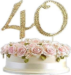 Petit Doré Cristal 5cm Décoration de Gâteau D'Anniversaire 18,21,30,40,50,60,70,80 Pic Strass Gemmes Décoration - Or, 40