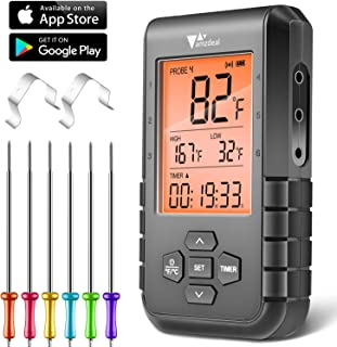 Amzdeal Termómetro de Carne Digital - Termómetro de Barbacoa con 6 Sondas y Bluetooth, Pantalla LCD, Alarma y Temporizador, Lectura Rápida y Precisa, Control APP de IOS y Android, para BBQ Horno Leche
