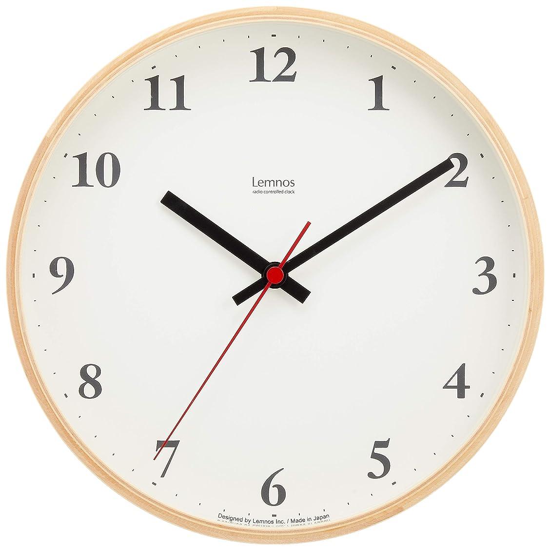 滞在ロゴ密度Lemnos Plywood clock 電波時計 ナチュラル LC10-21W NT