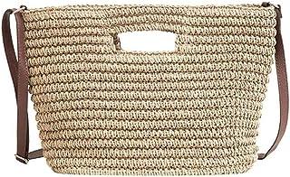 Women Straw Crossbody Bag Summer Beach Weave Handbags (Color : Beige)