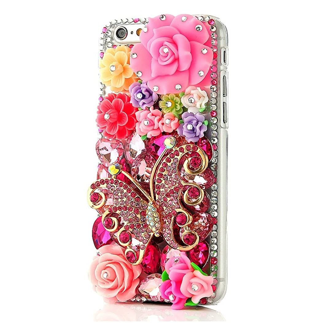 STENES iPhone 5C Case - Luxurious Crystal 3D Handmade Sparkle Glitter Diamond Rhinestone Ultra-Thin Clear Cover With Retro Bowknot Anti Dust Plug - Butterfly Floral/Pink