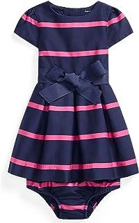 Polo Ralph Lauren Baby Girls Striped Sateen Dress and Bloomer 2 Piece Set