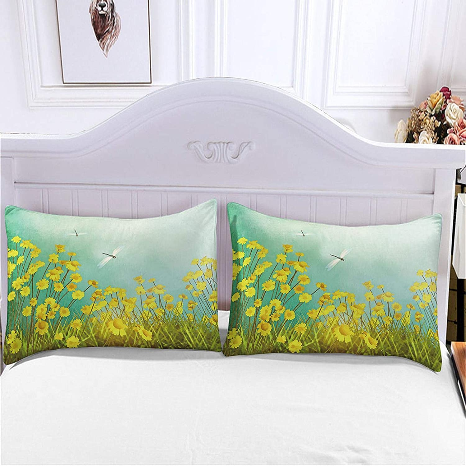 HKDGHTHJ Bedroom Decoration Microfiber Max 85% OFF Insect Flower Yellow 135 Free shipping New