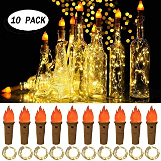seenlast Torch Wine Bottle Lights,10 Pack Battery Operated Fairy Lights Silver Copper Wire Mini String Lights for DIY Party Christmas Halloween Wedding,Outdoor Indoor Decoration
