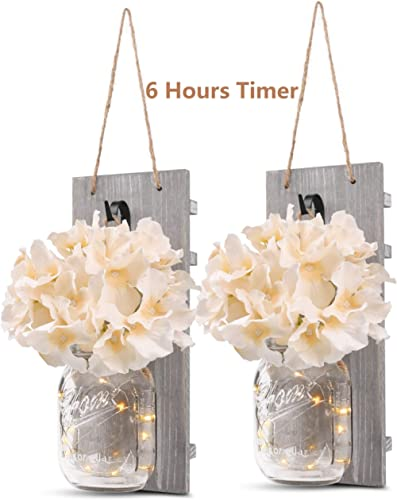 Rustic Wall Sconces - Mason Jars Sconce, Rustic Home Decor,Wrought Iron Hooks, Silk Hydrangea and LED Strip Lights De...