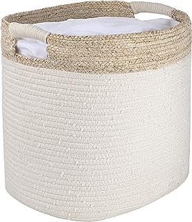 La Jolíe Muse Panier de rangement en corde de coton, organiseur pour jouets, linge, couvertures, cadeau décoration de la m...