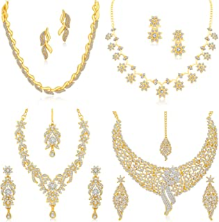 Sukkhi Sparkling Gold Plated Wedding Jewellery Austrian Diamond Set of 4 Necklace Combo for Women (SKR48715)