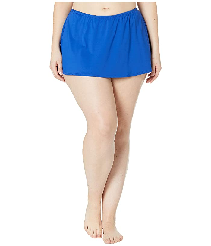 24th & Ocean Plus Size Solids Mid Waist Skirted Pant Bottoms (Cobalt) Women