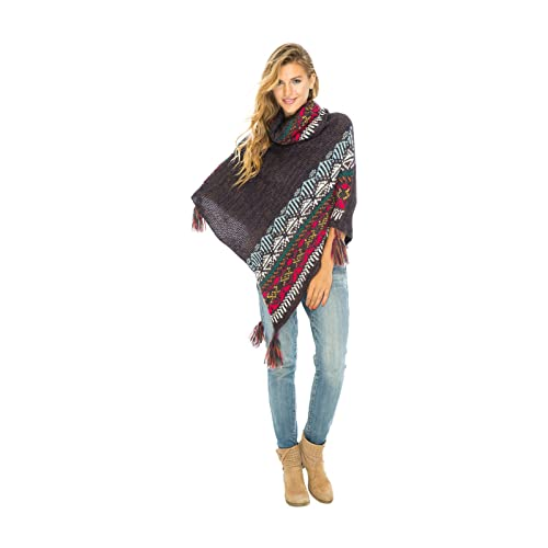 efcf0c44a Back From Bali Womens Knit Sweater Cape Boho Soft T Neck Cowl Neck Poncho  Tassels