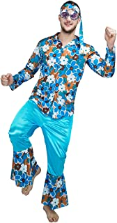 Men's 1960's Hippie Dippie Flower Costume, Light Blue